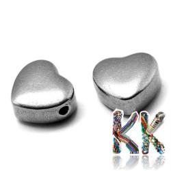 304 Nerezový oddělovací korálek - srdce- 10 x 11,5 x 5,5 mm