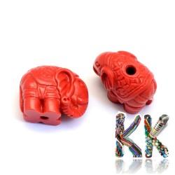 Rumělka - slon - 12 x 14-15 x 8,5 mm