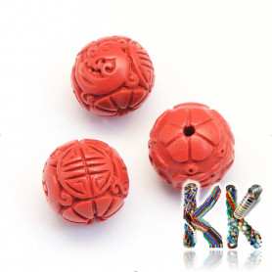 Rumělka - ∅ 10 mm - kulička - budhistické dekory