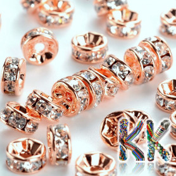 Mosazná šatonová rondelka - růžové zlato - ∅ 6 x 3 mm - kvalita AAA