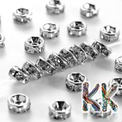 Mosazná šatonová rondelka - platinová - ∅ 4 x 2 mm - kvalita AAA