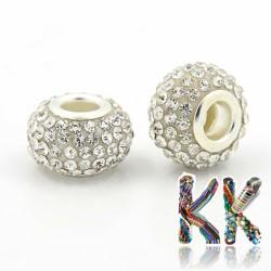 Korálek s širokým průvlekem - rondelka s kamínky - 8 x ∅ 12 mm - kvalita A