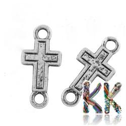 Mosazný mezičlánek - kříž - 23 x 11 x 1 mm
