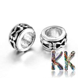Širokoprůvlekový oddělovací korálek z tibetského stříbra - kroužek - ∅ 7 x 3,5 mm