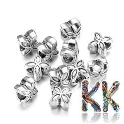 Širokoprůvlekový korálek z tibetského stříbra - květiina - 10 x 10 x 8 mm