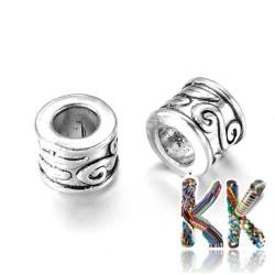 Širokoprůvlekový oddělovací korálek z tibetského stříbra - trubka - ∅ 8,5 x 7 mm
