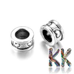 Širokoprůvlekový oddělovací korálek z tibetského stříbra - kroužek - ∅ 8 x 5 mm