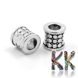 Širokoprůvlekový oddělovací korálek z tibetského stříbra - trubka - ∅ 8 x 9 mm
