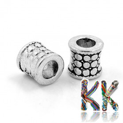 Širokoprůvlekový oddělovací korálek z tzv. tibetského stříbra - trubka - ∅ 8 x 9 mm