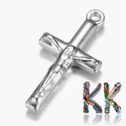 Přívěsek z 304 nerezové ocele - kříž s Kristem - 22,5 x 11,5 x 3 mm