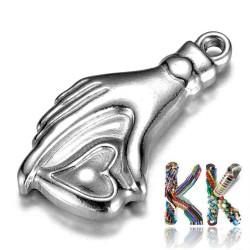 Přívěsek z 304 nerezové ocele - ruka se srdcem - 22 x 12 x 3 mm