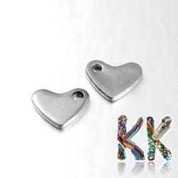 Přívěsek z 304 nerezové ocele - srdce - 5 x 7 x 1 mm