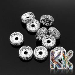 Mosazná šatonová rondelka - stříbrná - ∅ 10 x 4 mm - kvalita AAA