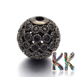 Mosazné oddělovací korálky se zirkony - kuličky - ∅ 10 mm - kvalita AAA