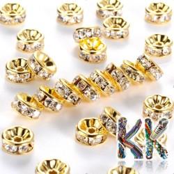 Mosazná šatonová rondelka - zlatá - ∅ 8 x 3,5 mm - kvalita AAA