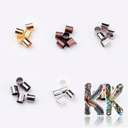 Mosazný zamačkávací rokajl - trubička - ∅ 3 x 3 mm - cca 420 ks