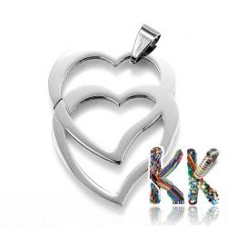 Přívěsek z 304 nerezové ocele - srdce se srdcem - 39 x 31 x 1,5 mm