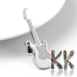 Přívěsek z 304 nerezové ocele - kytara - 40 x 14 x 2 mm