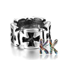 316 Širokoprůvlekový nerezový korálek - kruh s kříži - ∅ 9 x 5 mm