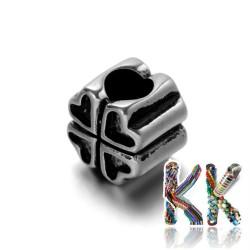 304 Širokoprůvlekový nerezový korálek - čtyřlístek - 11,5 x 11,5 x 10 mm