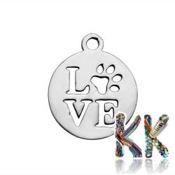 Přívěsek z 304 nerezové ocele - kruh se slovem LOVE - 14 x 12 x 1 mm