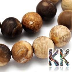 Přírodní zmatnělé zkamenělé dřevo - ∅ 8 mm - kulička