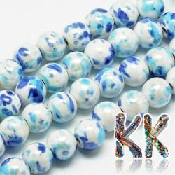 Porcelánové korálky - malované, glazované - ∅ 9 mm - kuličky