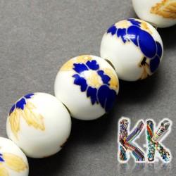 Porcelánové korálky - malované, glazované - ∅ 8 mm - kuličky