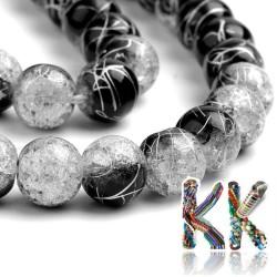 Syntetický křišťál - ∅ 8 mm - dvoubarevné stříbrně potažené kuličky