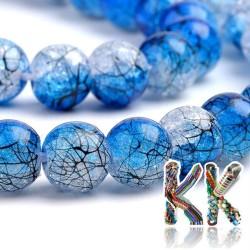 Syntetický praskaný křišťál - ∅ 8 mm - dvoubarevné černě potažené kuličky