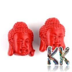 Rumělka - Buddha - 18 x 14,5 x 13,5 mm