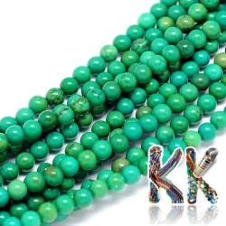 Přírodní zelený sinkiangský tyrkys - ∅ 4 mm - kulička