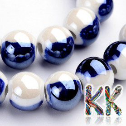 Porcelánové korálky - dvoubarevné, glazované - ∅ 8 - 9 mm - kuličky