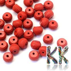 Rumělka - rondelka - 10 x 7-8 mm