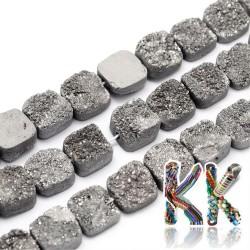 Přírodní pokovené drúzy z křišťálu - 10-10,5 x 10-10,5 x 5-6,5 mm