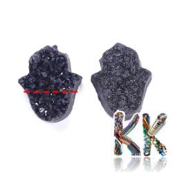 Přírodní pokovené drúzy z achátu - hamsa 12-13 x 10-11 x 6-8 mm