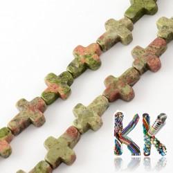 Přírodní unakit - kříž - 16-17 x 12-13 x 4-6 mm