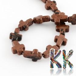Přírodní mahagonový obsidián - kříž - 16-17 x 12-13 x 4-6 mm