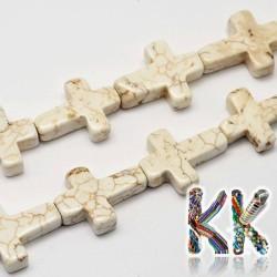 Přírodní bílý tyrkys - kříž - 20 x 16 x 6 mm