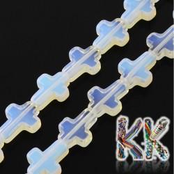 Syntetický opál - kříž - 16-17 x 12-13 x 4-6 mm