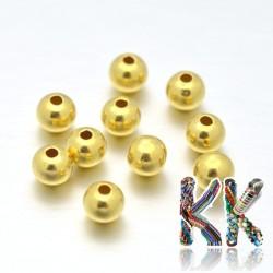 Oddělovací korálek z ryzího stříbra (925 Ag) - povrch 24 K zlato - kulička - ∅ 2 mm