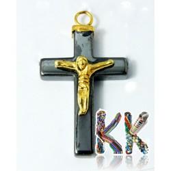 Přívěsek ze syntetického nemag. hematitu - kříž s Kristem - 39 x 24 x 7 mm