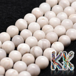 Přírodní bílý bláznivý achát - ∅ 8 mm - kulička