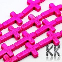 Syntetický tyrkys - 16 x 12 x 3,5 mm - barevné křížky