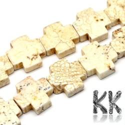 Přírodní bílý tyrkys - řecký kříž - 20 x 20 x 6 mm