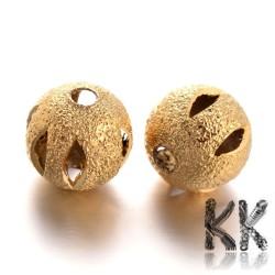Mosazné korálky s hvězdným prachem - ∅ 8 mm - děrovaná kulička
