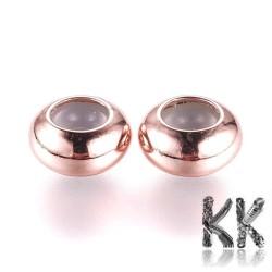 Kovový oddělovací korálek - kroužek s gumou - ∅ 8 x 4 mm