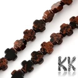 Přírodní mahagonový obsidián - řecký kříž - 8 x 8 x 4 mm