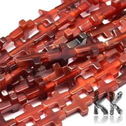 Přírodní červený achát - dobarvený kříž - 16 x 12 x 4 mm - kvalita AB