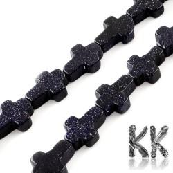 Syntetický temně modrý sluneční kámen - kříž - 16-17 x 12-13 x 4-6mm